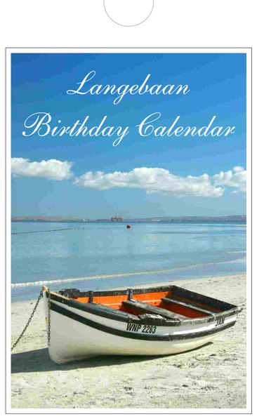 Personalized birthday calendar of Langebaan -  front page