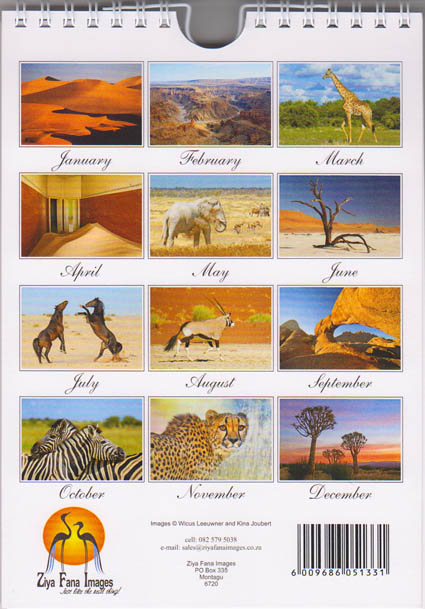Personalized Birthday calendar of Namibia -  back page