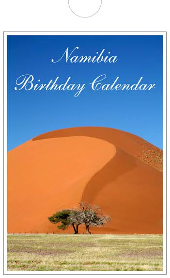 Personalized Birthday calendar of Namibia -  front page