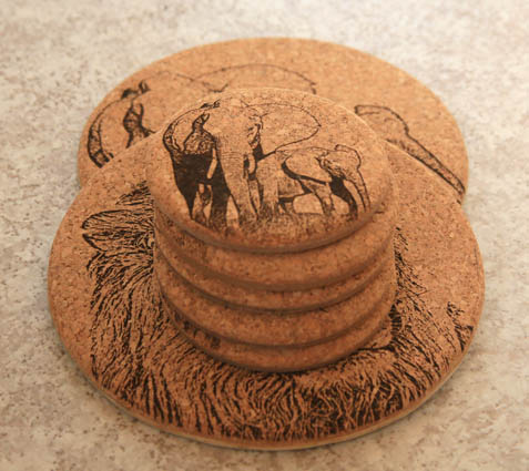 natural cork coasters, place mats, pot stands with laser engraved images