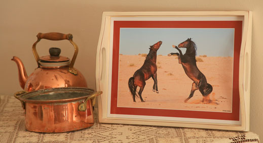 Personalized tray with wild horses of the Namib