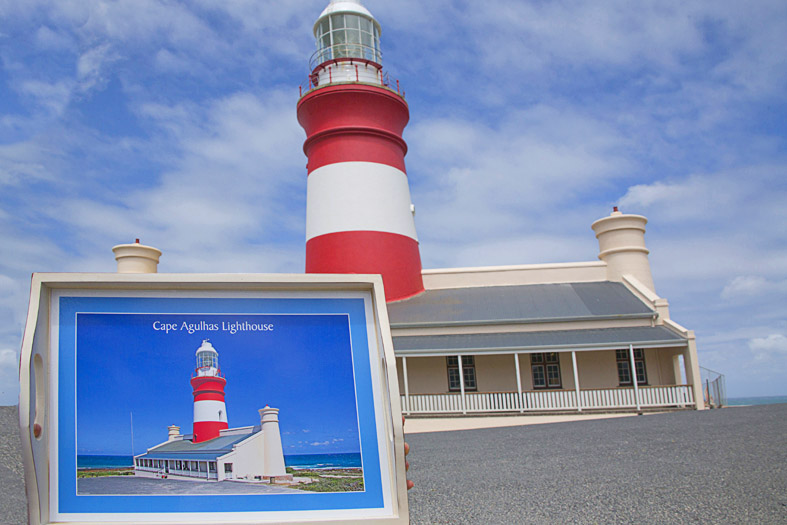 Personalized wooden tray of Agulhas lighthouse