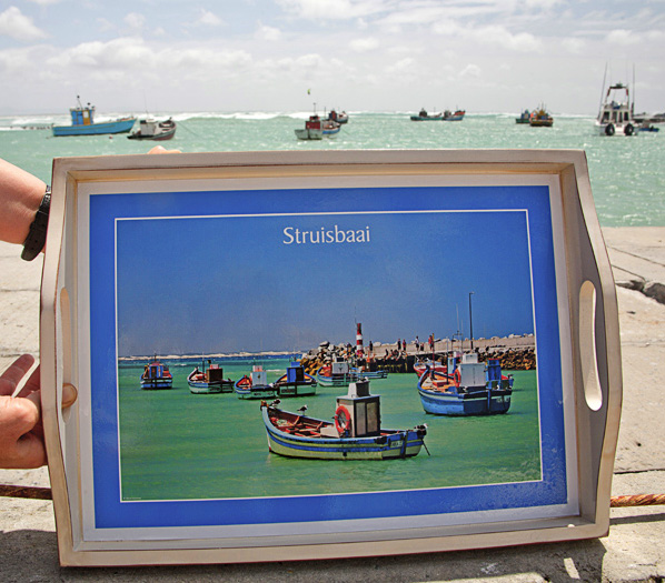 Personalized wooden tray of Struisbaai harbour